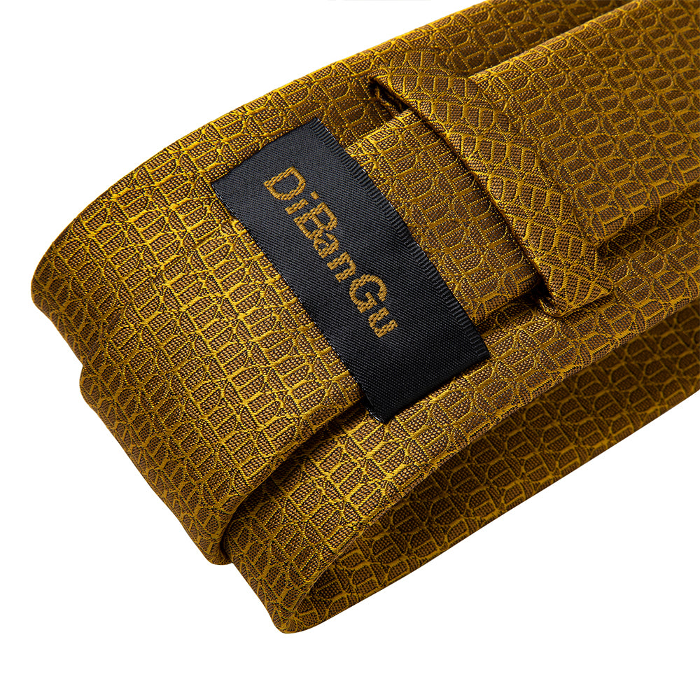 Load image into Gallery viewer, New Solid Golden Tie Pocket Square Cufflinks Set (4601550831697)