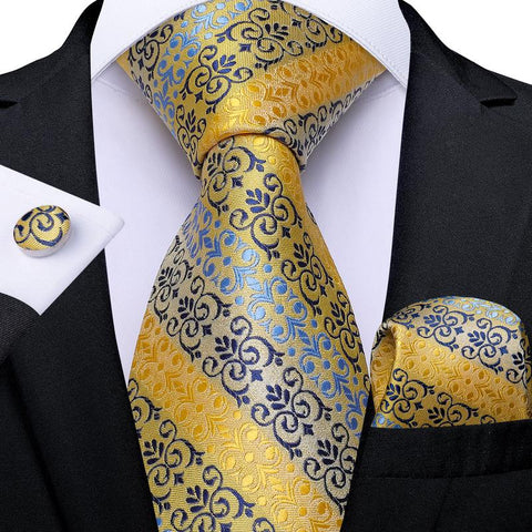 Yellow Blue  Floral Tie Pocket Square Cufflinks Set