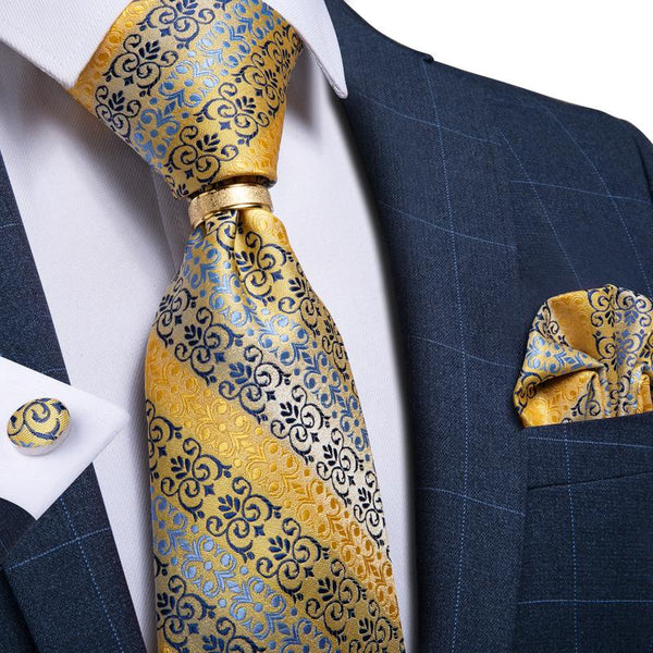 Yellow Blue Floral Men's Tie Ring Handkerchief Cufflinks Set