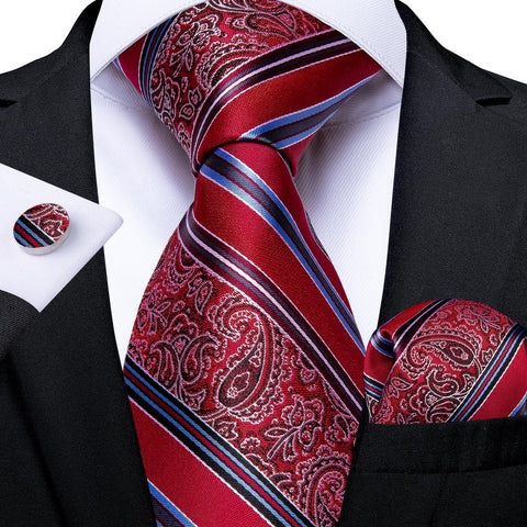 New Red and Blue Stripe Tie Pocket Square Cufflinks Set