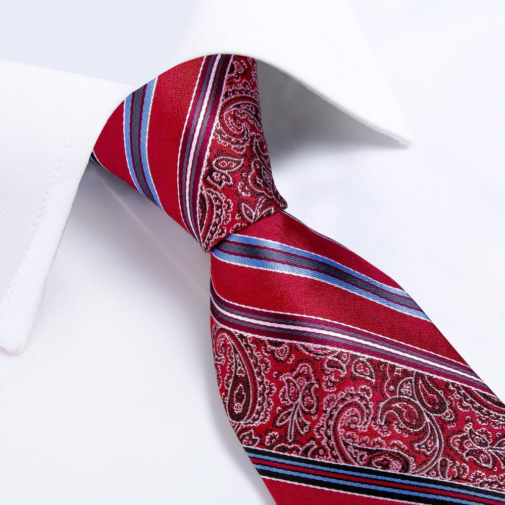 New Red and Blue Stripe Tie Pocket Square Cufflinks Set (4601552470097)