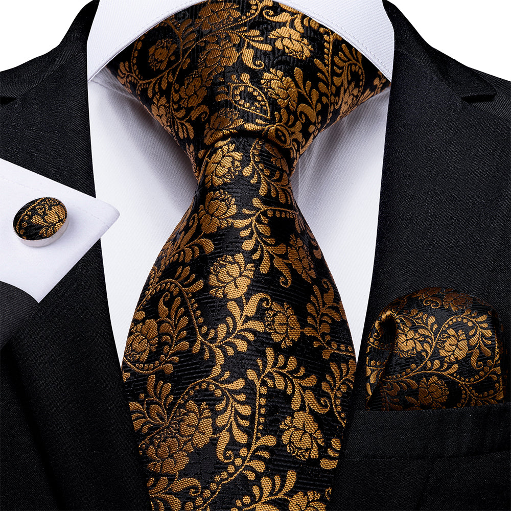 New Black and Yellow Floral Tie Pocket Square Cufflinks Set (4601612468305)