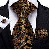 New Black and Yellow Floral Tie Pocket Square Cufflinks Set