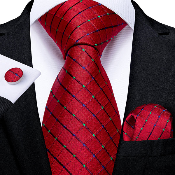 New Red Plaid Tie Pocket Square Cufflinks Set