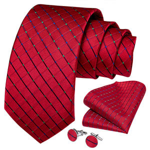 Load image into Gallery viewer, New Red Plaid Tie Pocket Square Cufflinks Set