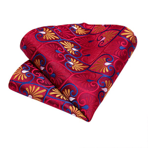 New Red Heart-Shaped Tie Pocket Square Cufflinks Set (4601557549137)