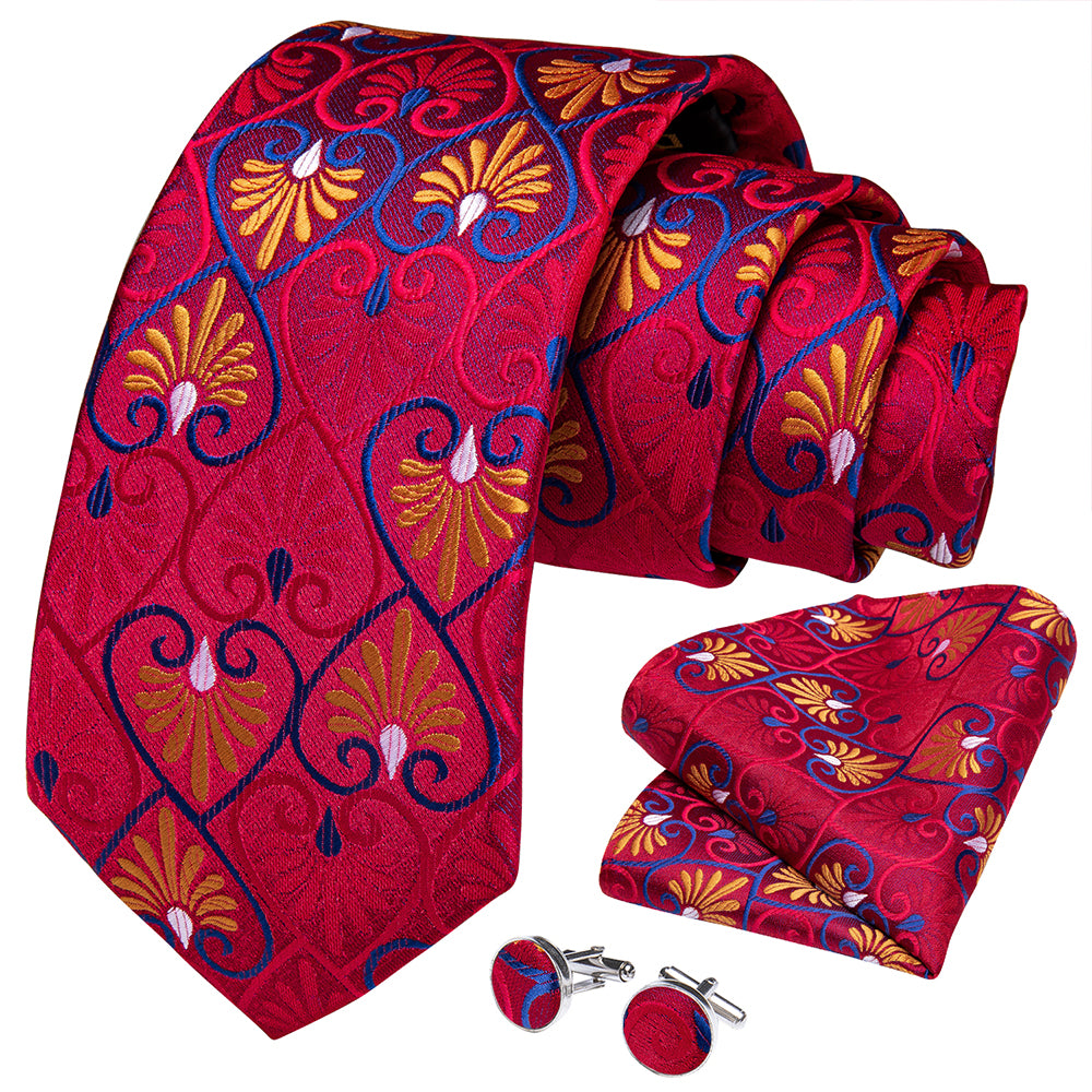 Load image into Gallery viewer, New Red Heart-Shaped Tie Pocket Square Cufflinks Set (4601557549137)