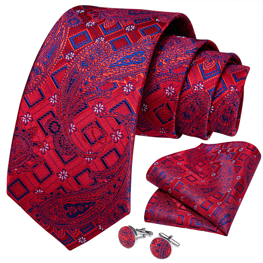 New Red Printing Paisley Tie Pocket Square Cufflinks Set (4601553059921)