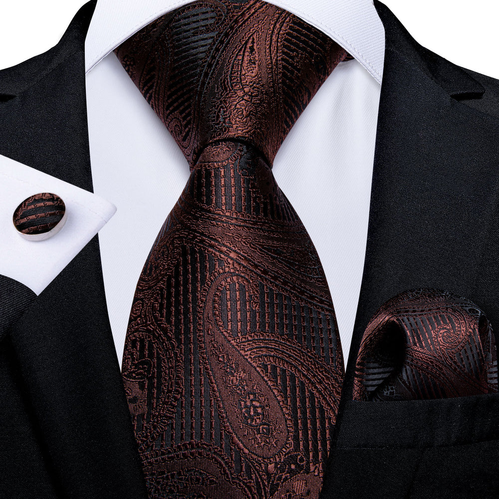New Brown Black Paisley Men's Tie Handkerchief Cufflinks Clip Set