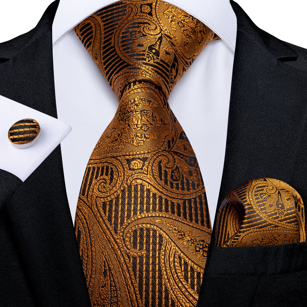 Gold Brown Paisley Men's Tie Handkerchief Cufflinks Set