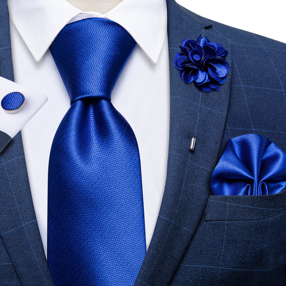 Blue Solid Silk Men's Necktie Handkerchief Cufflinks Set With Lapel Pin Brooch Set