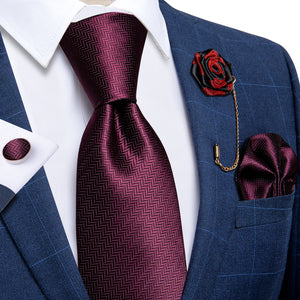 Load image into Gallery viewer, Burgundy Solid Silk Men's Necktie Handkerchief Cufflinks Set With Lapel Pin Brooch Set