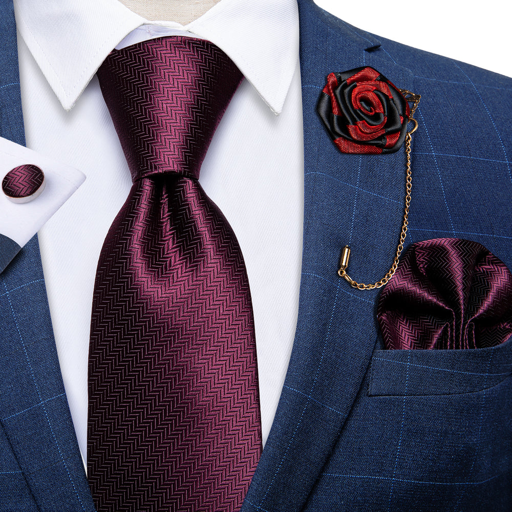 Burgundy Solid Silk Men's Necktie Handkerchief Cufflinks Set With Lapel Pin Brooch Set