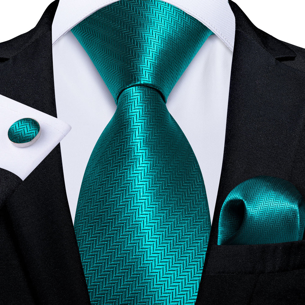 Novelty Teal Solid Men's Tie Handkerchief Cufflinks Set