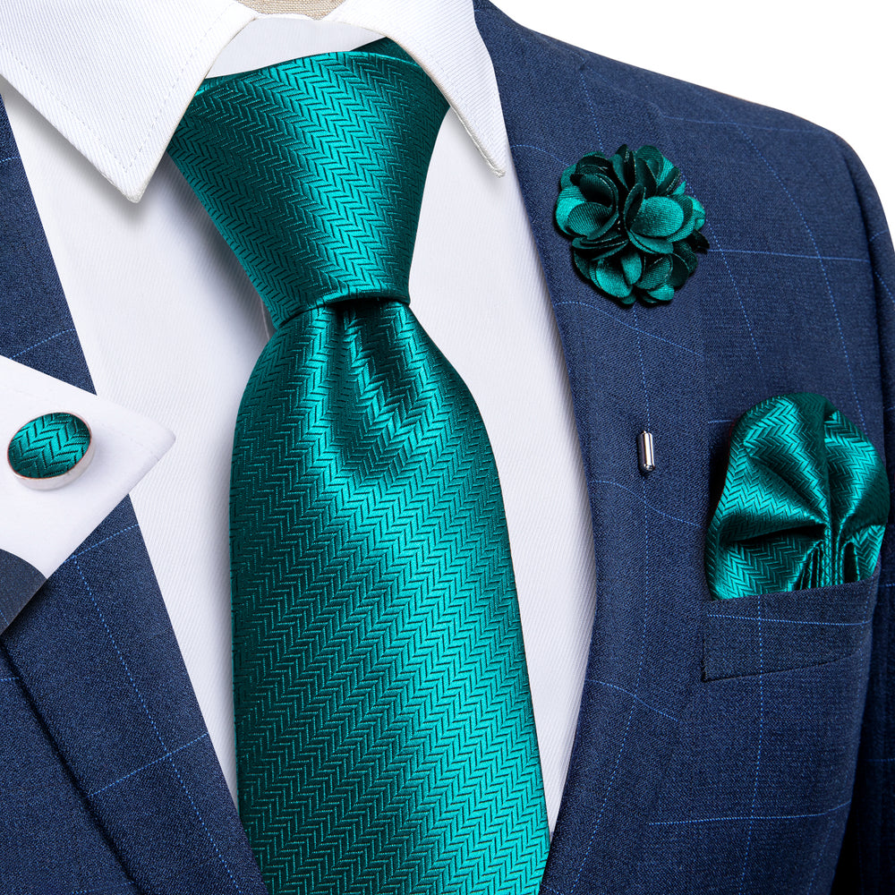 Load image into Gallery viewer, Teal Solid Silk Men's Necktie Handkerchief Cufflinks Set With Lapel Pin Brooch Set