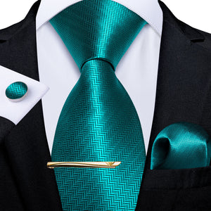 Load image into Gallery viewer, New Novelty Teal Solid Men's Tie Handkerchief Cufflinks Clip Set