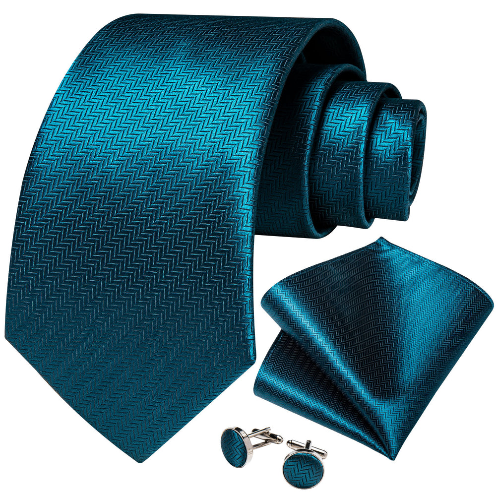 New Novelty Blue Solid Men's Tie Handkerchief Cufflinks Clip Set
