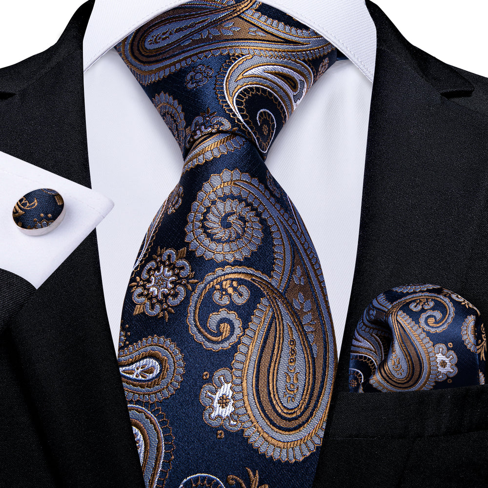 Brown Blue Paisley Men's Tie Handkerchief Cufflinks Set