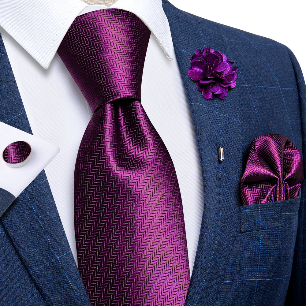 Purple Geometric Silk Men's Necktie Handkerchief Cufflinks Set With Lapel Pin Brooch Set