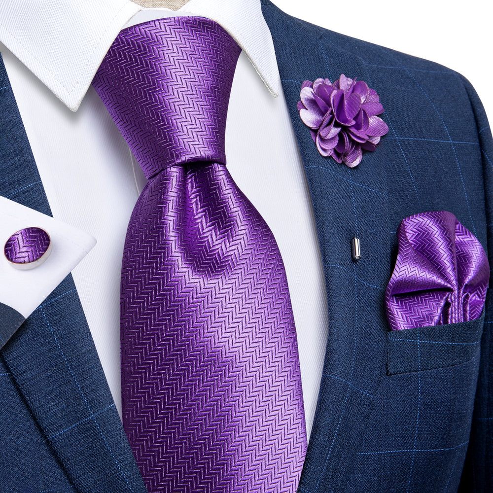 Lavender Purple Geometric Silk Men's Necktie Handkerchief Cufflinks Set With Lapel Pin Brooch Set