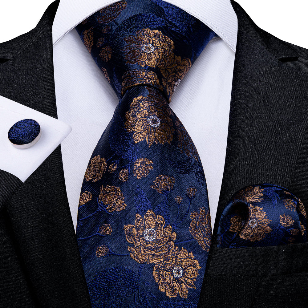 Blue Brown Floral  Men's Tie Handkerchief Cufflinks Set