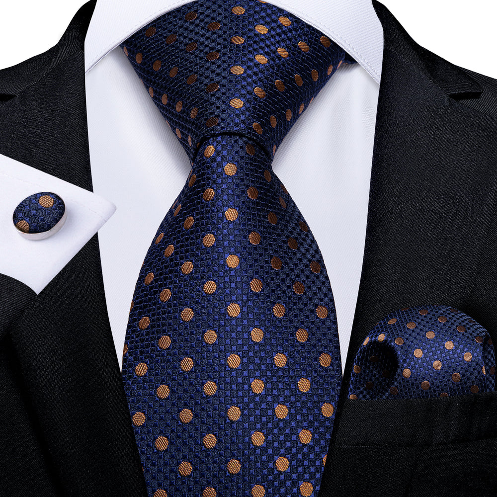 Blue Brown Polka Dot  Men's Tie Handkerchief Cufflinks Set