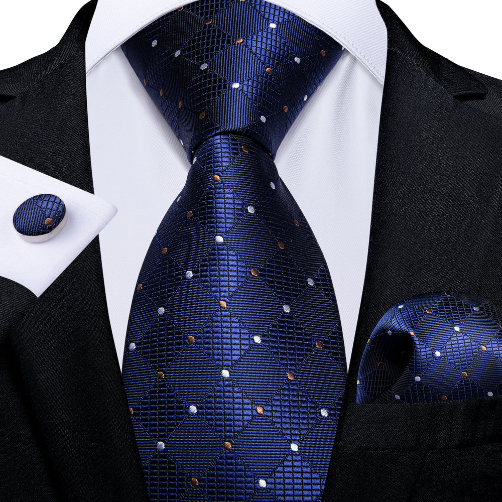 Blue White Plaid Men's Tie Handkerchief Cufflinks Set