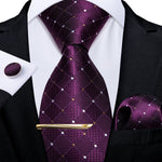 Purple White Plaid Men's Tie Handkerchief Cufflinks Clip Set