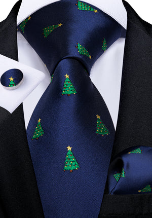 Load image into Gallery viewer, Christmas Blue Solid Men's Tie Handkerchief Cufflinks Set (4709270028369)