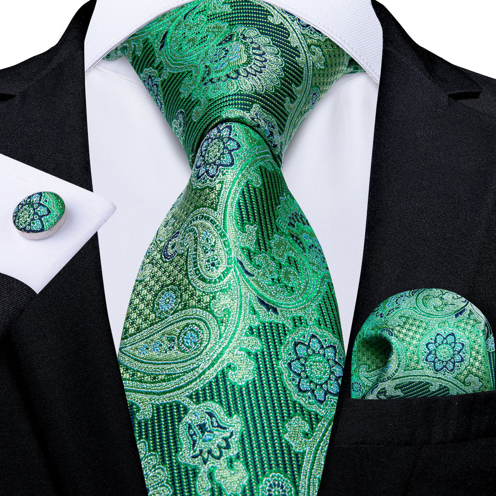 Green Black Paisley Men's Tie Handkerchief Cufflinks Set