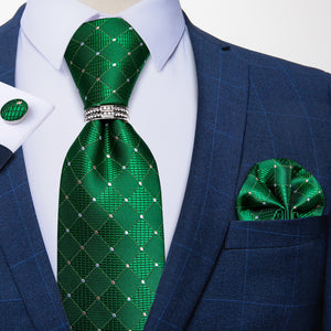 Load image into Gallery viewer, 4PCS Green White Plaid Men's Silk Tie Handkerchief Cufflinks With Tie Ring Set