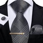 New Novelty Houndstooth  Men's Tie Handkerchief Cufflinks Clip Set