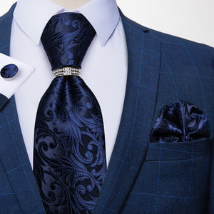 Load image into Gallery viewer, 4PCS Blue Floral Paisley Men's Silk Tie Handkerchief Cufflinks With Tie Ring Set