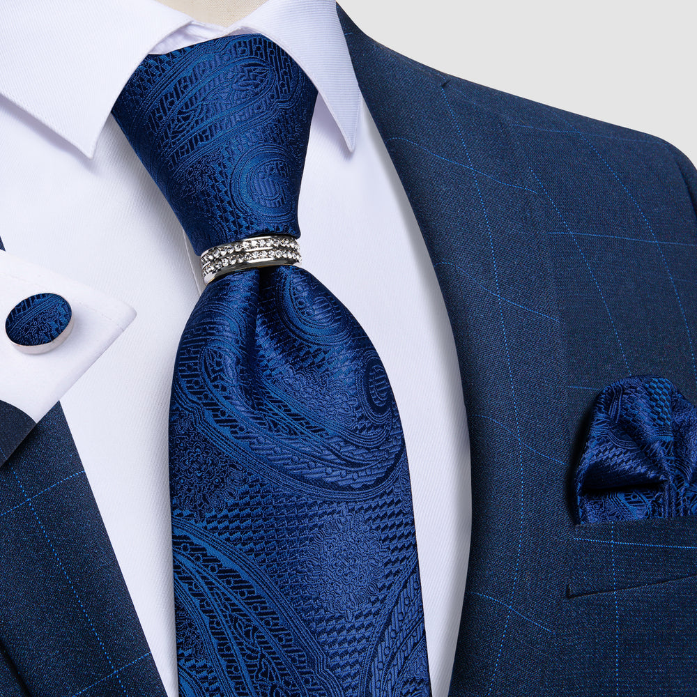 Load image into Gallery viewer, 4PCS Blue Paisley  Men's Silk Tie Handkerchief Cufflinks With Tie Ring Set