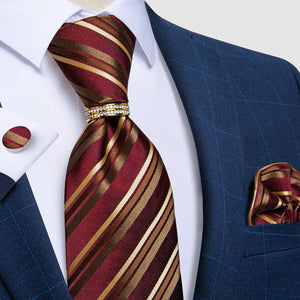 4PCS Red Brown Striped Men's Silk Tie Handkerchief Cufflinks With Tie Ring Set
