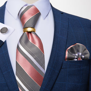 4PCS Pink Grey Striped Men's Silk Tie Handkerchief Cufflinks With Tie Ring Set