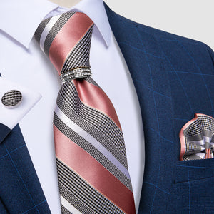 Load image into Gallery viewer, 4PCS Pink Grey Striped Men's Silk Tie Handkerchief Cufflinks With Tie Ring Set