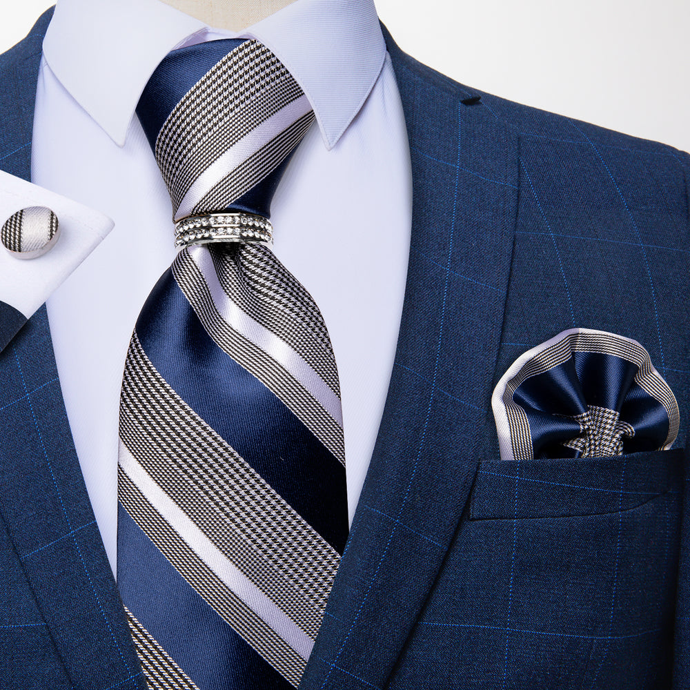 Load image into Gallery viewer, 4PCS Blue Grey Striped Men's Silk Tie Handkerchief Cufflinks With Tie Ring Set