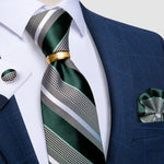 4PCS Green Grey Striped Men's Silk Tie Handkerchief Cufflinks With Tie Ring Set