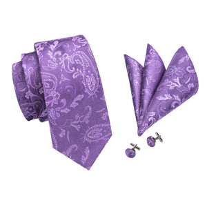 Purple Floral Tie Handkerchief Cufflinks and Tie Pin Brooch Set