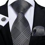 Grey White Plaid Men's Tie Handkerchief Cufflinks Set