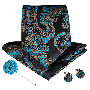 Musthave Black Blue Floral Tie Handkerchief Cufflinks and Tie Pin Brooch Set