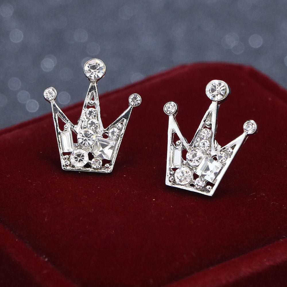 Load image into Gallery viewer, New Silver Blue Diamond Crown Collar Pin