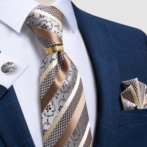Brown Floral Silk Men's 4PCS Tie Pocket Square Cufflinks with Tie Ring Set