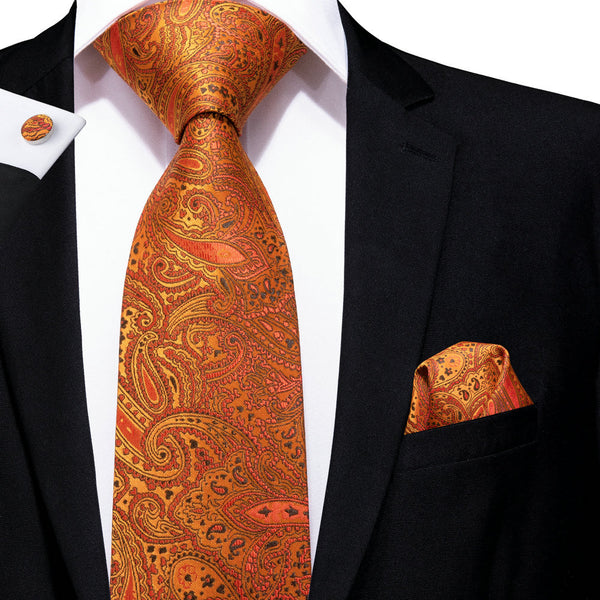 Yellow Orange Paisley Tie Hanky Cufflinks Set