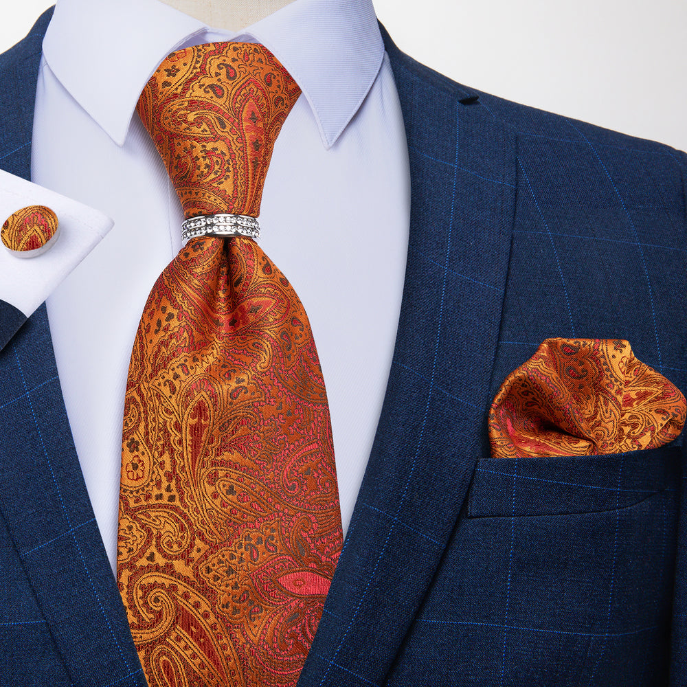 4PCS Orange Paisley Silk Men's Tie Pocket Square Cufflinks with Tie Ring Set