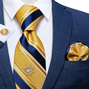 Yellow Blue Striped Men's Tie Handkerchief Cufflinks Set with Tie Tack (4701438443601)