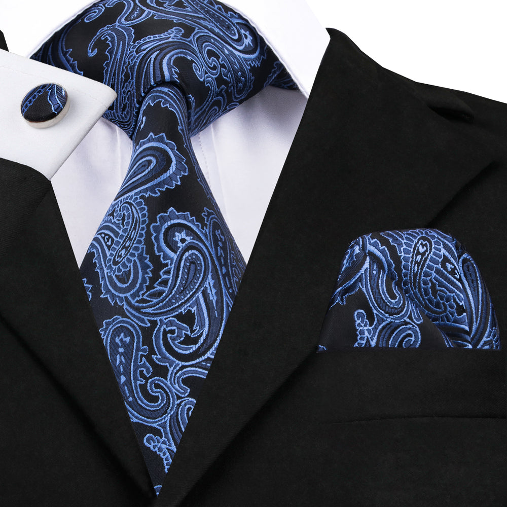Blue Black Paisley Tie Pocket Square Cufflinks Set