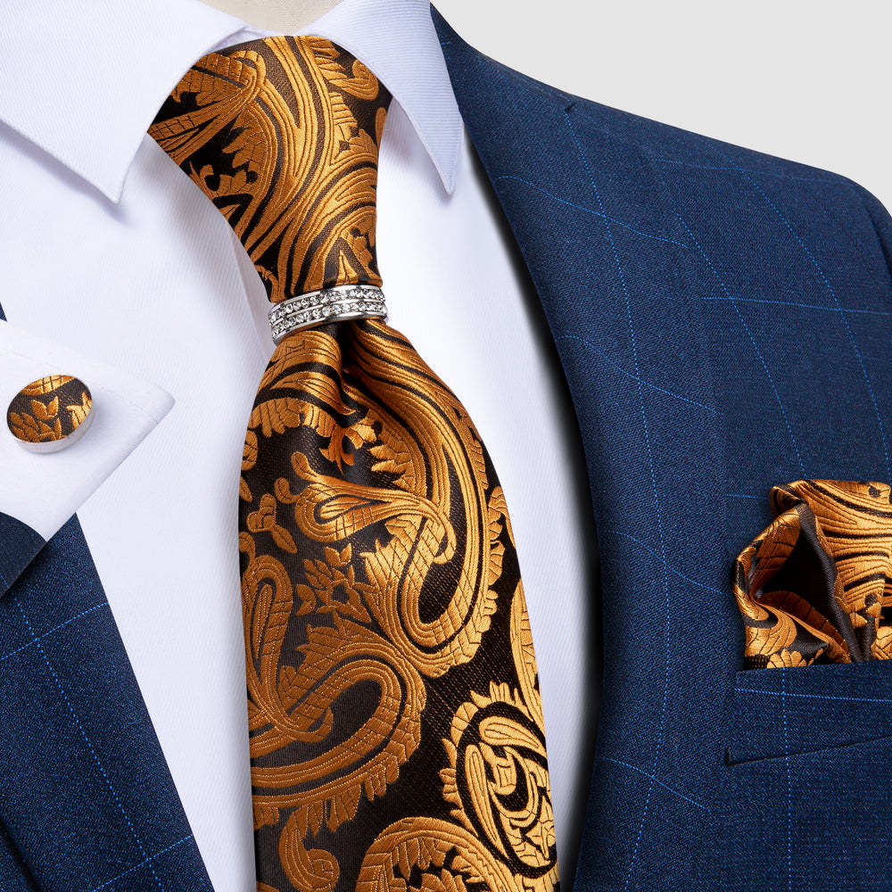 4PCS Golden Black Paisley Silk Men's Tie Pocket Square Cufflinks with Tie Ring Set