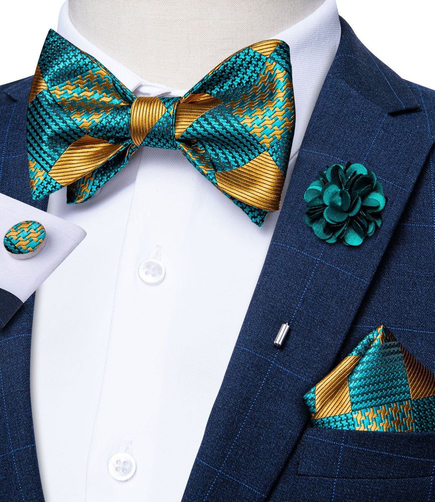 Teal Yellow Plaid Self-Bowtie Pocket Square Cufflinks Set With Brooch